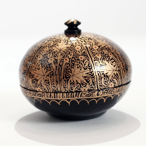 Black and Gold Round Paper Mache Box with Handled Lid