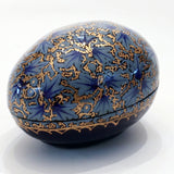 Blue and Gold Egg Shaped Paper Mache Box