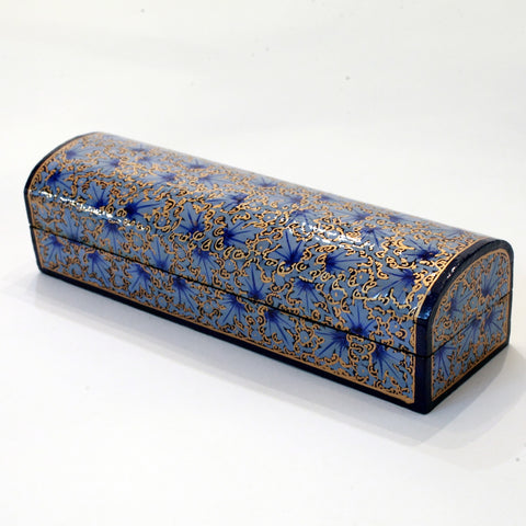 Blue and gold paper mache box