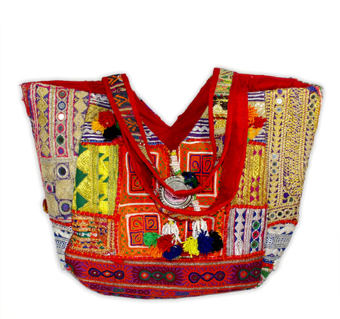 Boho Patchwork Banjara Tote Bag-Orange and Gold