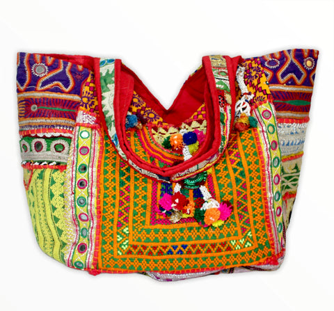 Boho Patchwork Banjara Tote Bag-Orange