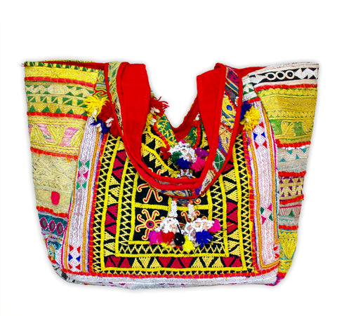 Boho Patchwork Banjara Tote Bag-Yellow