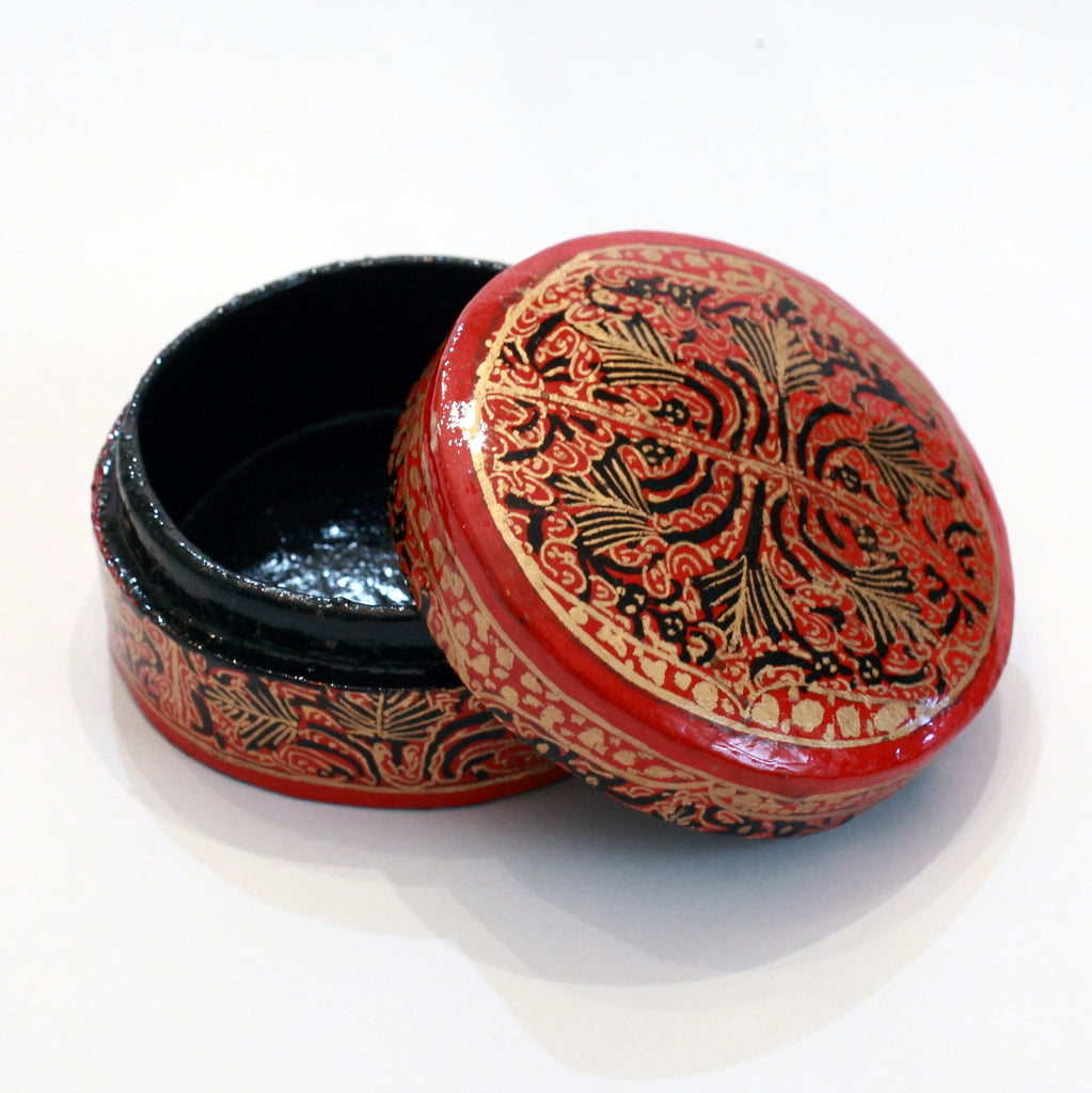 Red and black round paper mache box