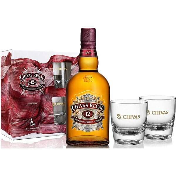 Chivas Regal 12 Year Old Blended Scotch Whisky with 2 Chivas Glasses Gift Pack, 70cl Limited Edition