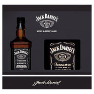 Jack Daniels Miniature and Hip Flask Gift Set 5 cl