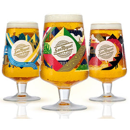 SAN MIGUEL 2020 LIMITED EDITION CHALICE PINT GLASSES - SET OF 3 Plus 6 San Miguel Beer Mats