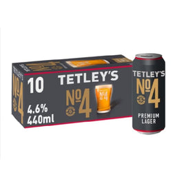 Tetley's No.4 Premium Lager Beer 10 x 440ml - Brand New - Just Launched - Lager