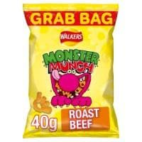 Walkers Monster Munch Roast Beef Snacks 30x40g