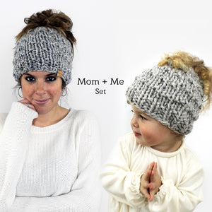 Mom and Me Bun Hat Set