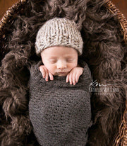 Honeysuckle Baby Hat- Grey Marble