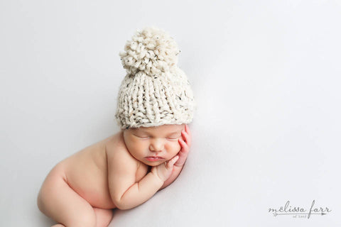 Hibiscus Baby Hat- Oatmeal