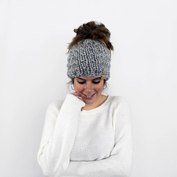 Piscataway Ponytail Hat- Grey Marble