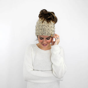 Piscataway Ponytail Hat- Oatmeal