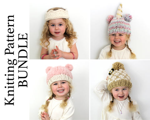 Children's Hats Knitting Pattern BUNDLE
