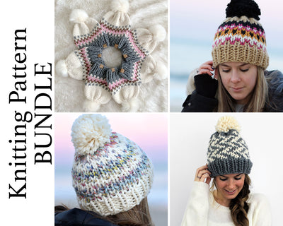 Fair Isle Hats Knitting Pattern BUNDLE