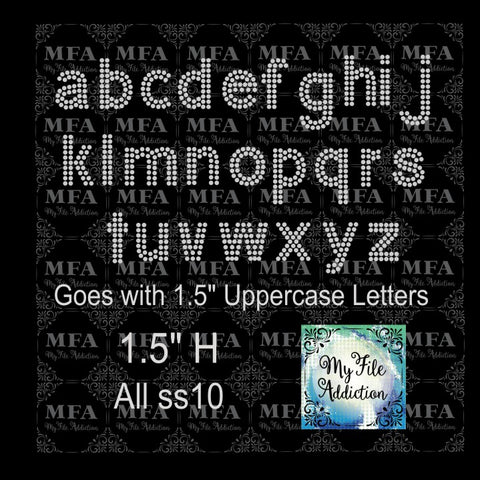"1.5"" Arial Letters Lowercase Rhinestone Digital Download File - My File Addiction"