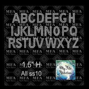 "1.5"" Arial Letters Rhinestone Digital Download File - My File Addiction"