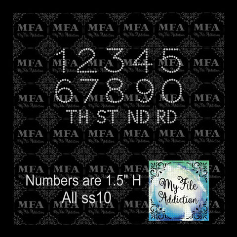 "1.5"" Numbers with ST TH RD ND Rhinestone Digital Download File - My File Addiction"