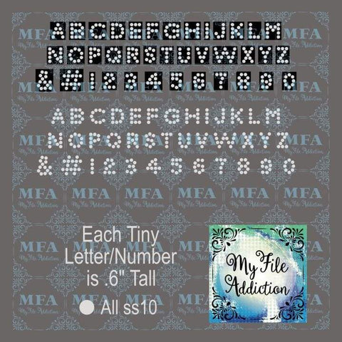 "1/2"" Tiny Arial Font Letters and Numbers Rhinestone Digital Download File - My File Addiction"