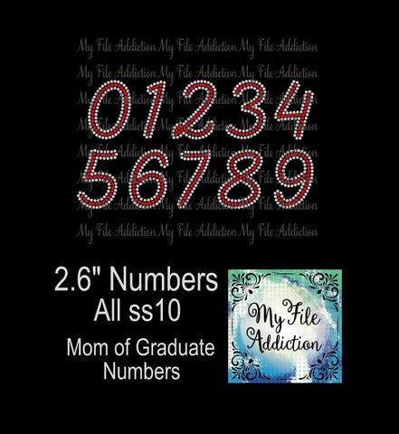 "2.6"" Numbers Rhinestone Digital Download File - My File Addiction"