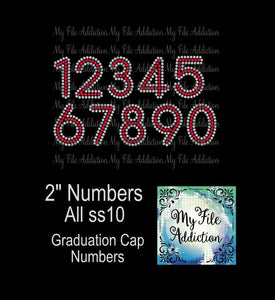"2"" (2) Color Numbers Rhinestone Digital Download File - My File Addiction"