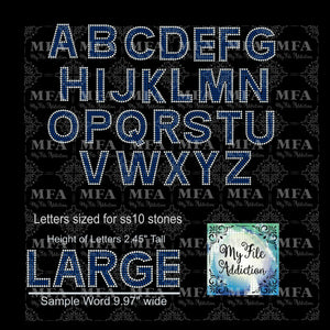 "2.45"" Arial 2 Letters Rhinestone Digital Download File"