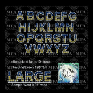 "2.45"" Arial 3 Letters Rhinestone Digital Download File"