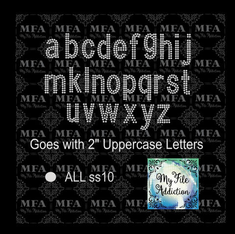 "2"" Arial Lowercase Font Rhinestone Digital Download File - My File Addiction"