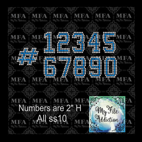 "2"" College Numbers Rhinestone Digital Download File - My File Addiction"