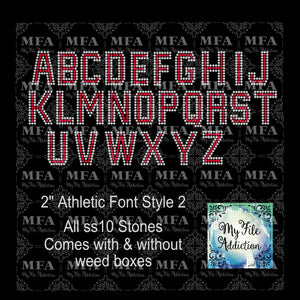 "2"" Athletic Font Rhinestone Digital Download File - My File Addiction"