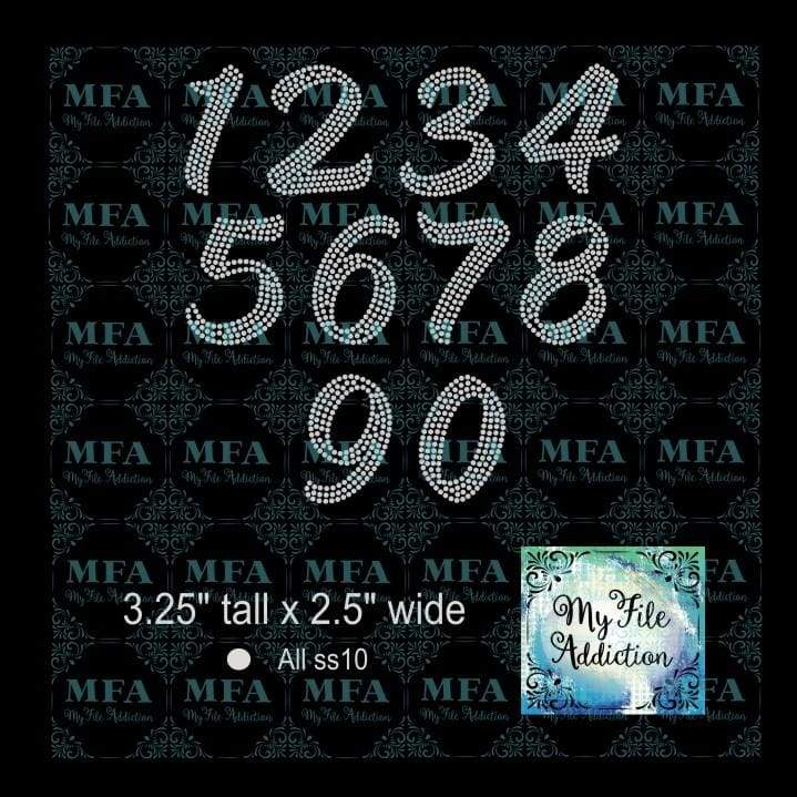 "3.25"" Numbers Rhinestone Digital Download File - My File Addiction"