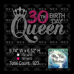 30th Birthday Queen Rhinestone Digital Download File - My File Addiction