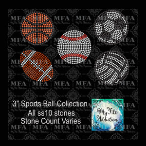 "3"" Sports Balls Rhinestone Digital Download File - My File Addiction"
