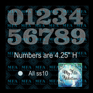 4.25 inch Numbers Rhinestone Digital Download File - My File Addiction