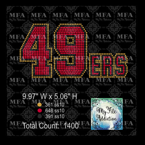 49ers 2 Rhinestone Digital Download File - My File Addiction