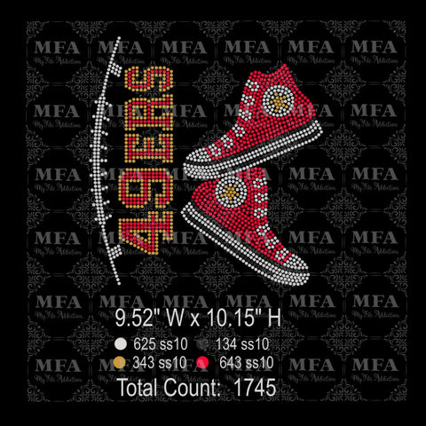 49ers High Tops Rhinestone Digital Download File - My File Addiction