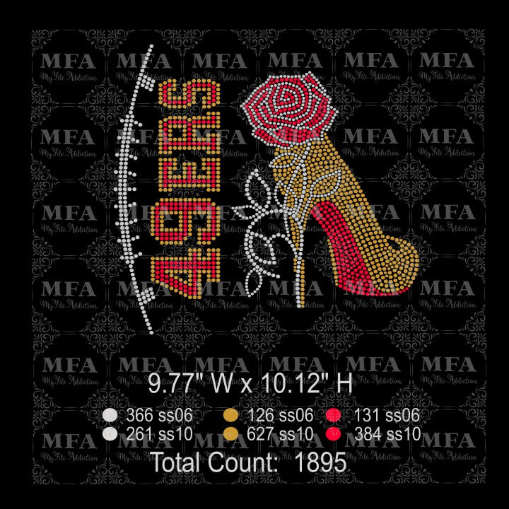 49ers Rose Stiletto High Heel Shoe Rhinestone Digital Download File - My File Addiction
