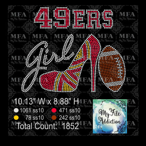 49ers High Heel With Football Rhinestone Digital Download File - My File Addiction