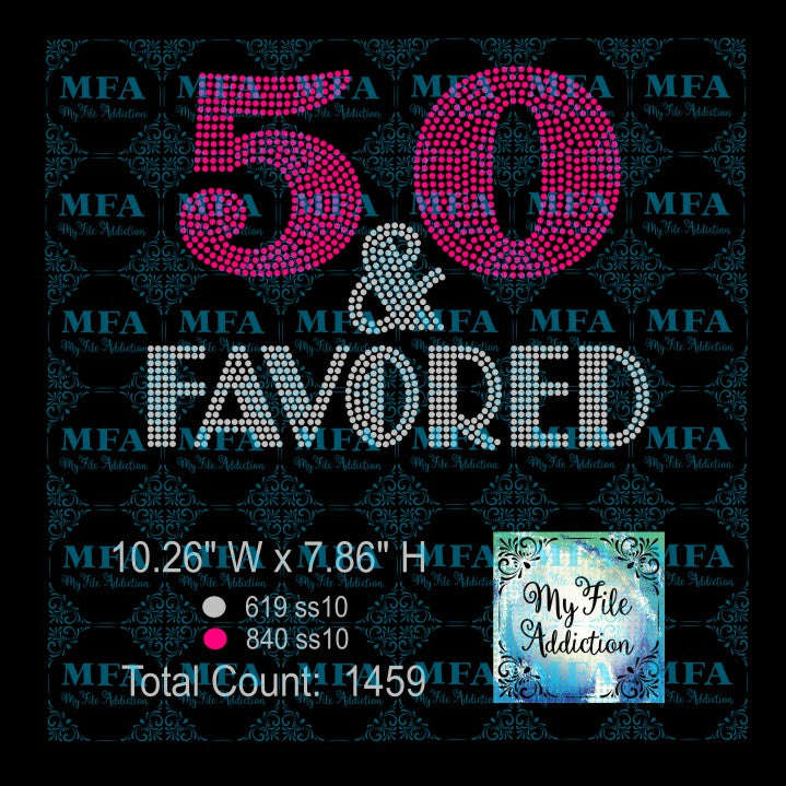 50 & Favored Rhinestone Digital Download File - My File Addiction