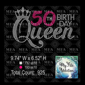 50th Birthday Queen Rhinestone Digital Download File - My File Addiction