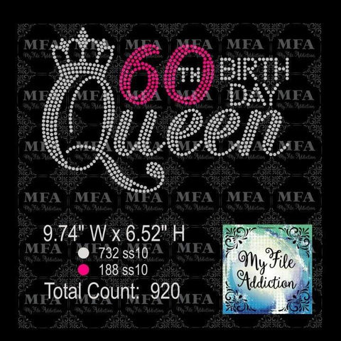 60th Birthday Queen Rhinestone Digital Download File - My File Addiction
