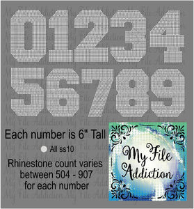 6 Inch Numbers Rhinestone Digital Download File - My File Addiction