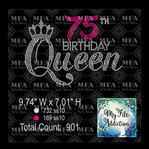75th Birthday Queen Rhinestone Digital Download File - My File Addiction
