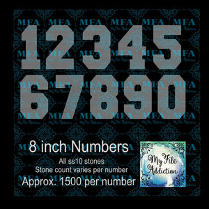 8 inch Numbers Rhinestone Digital Download File - My File Addiction