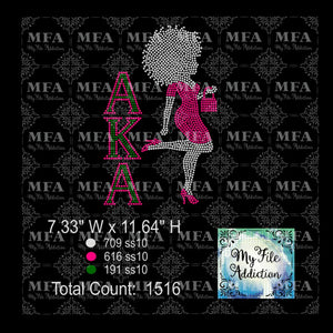 AKA Afro Woman in Dress Rhinestone Digital Download File - My File Addiction