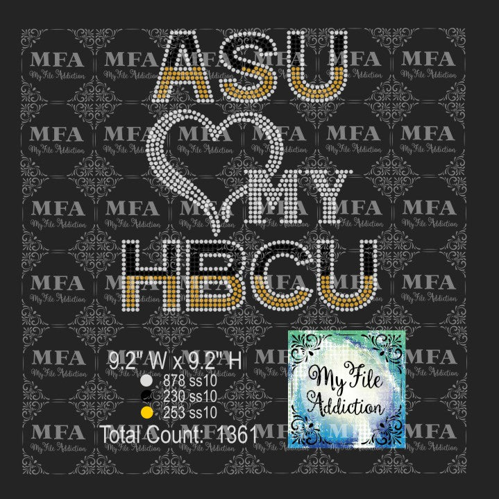 ASU Love My HBCU Rhinestone Digital Download File - My File Addiction