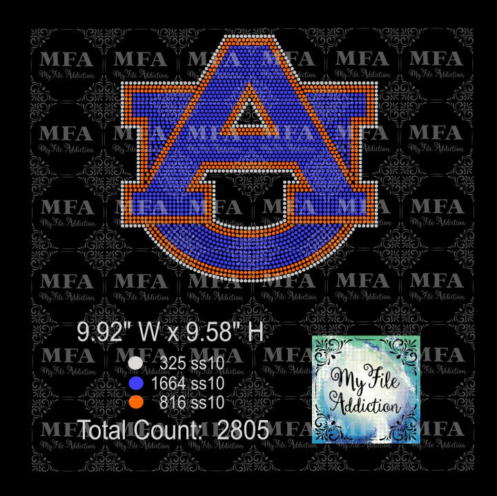 AU Auburn University Rhinestone Digital Download File - My File Addiction