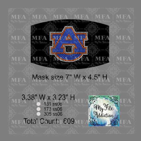 AU Small Auburn University Rhinestone Digital Download File