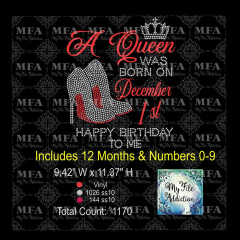 A Queen Was Born On Rhinestone & Vector Digital Download File