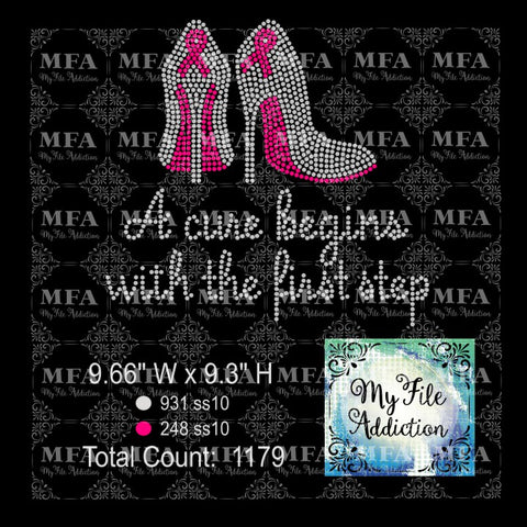 A cure begins with the first step 2 Cancer Awareness Rhinestone Digital Download File - My File Addiction